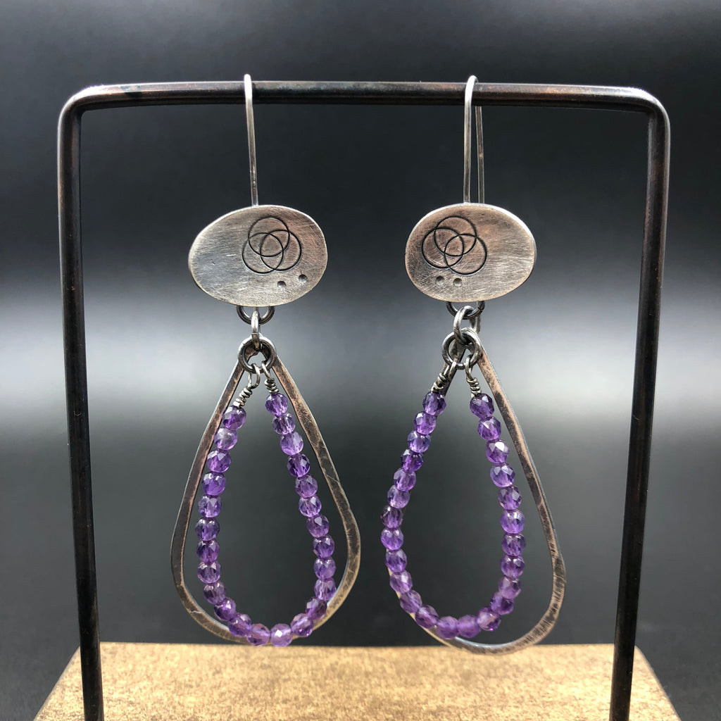 Oval Earrings w/ Amethyst Teardrops