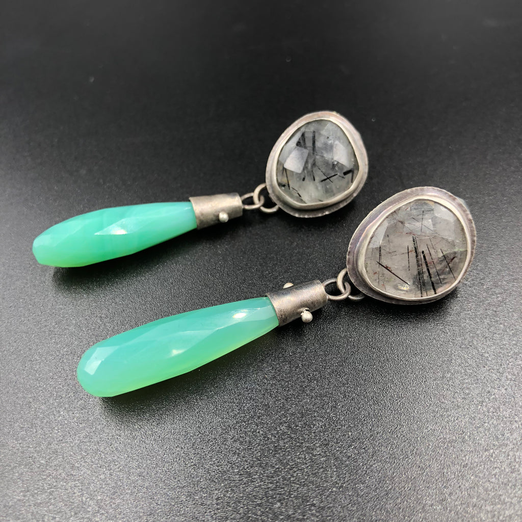 Bezel Set Drop Earrings w/ Chalcedony and Tourmalated Quartz