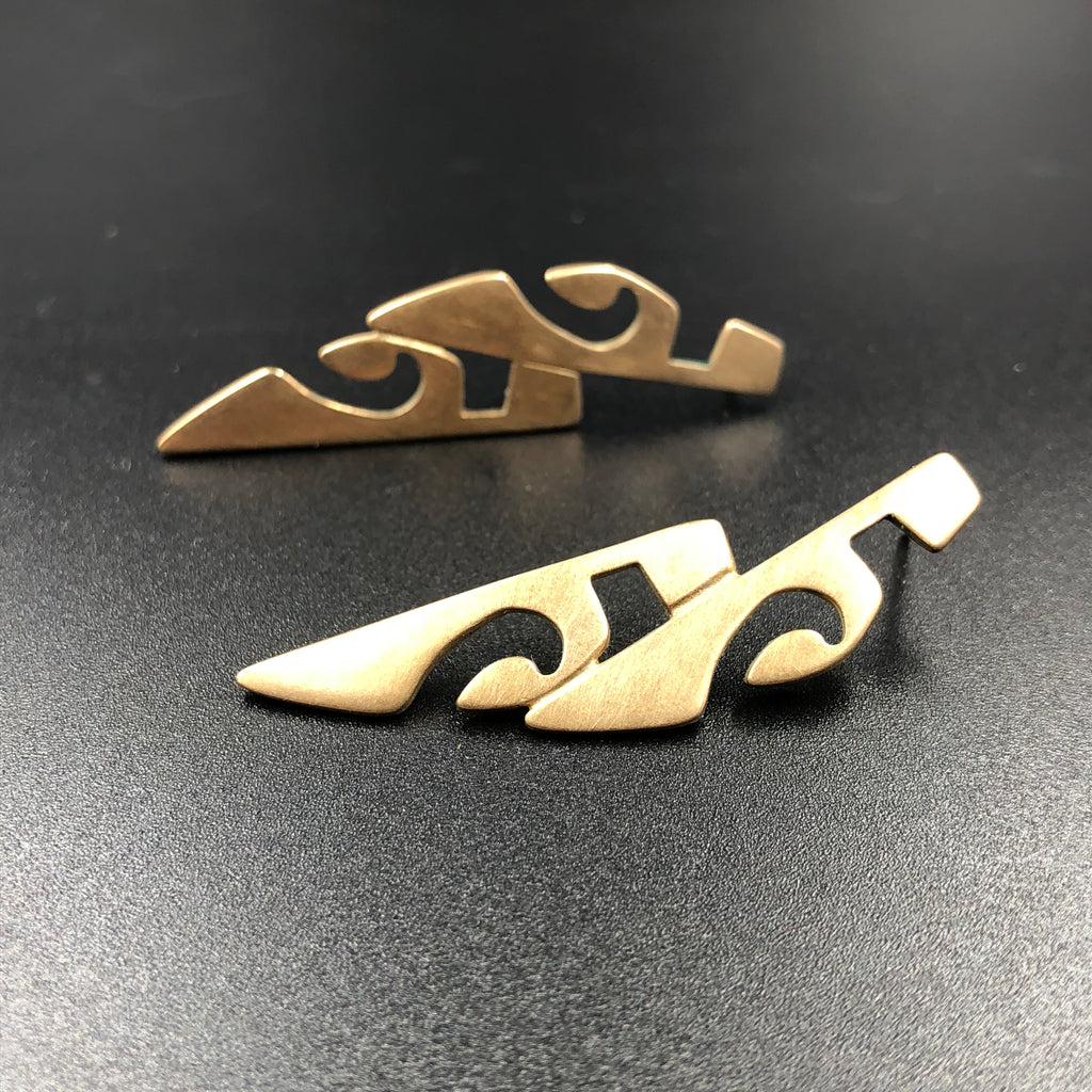 Tribal Post Earrings in Bronze