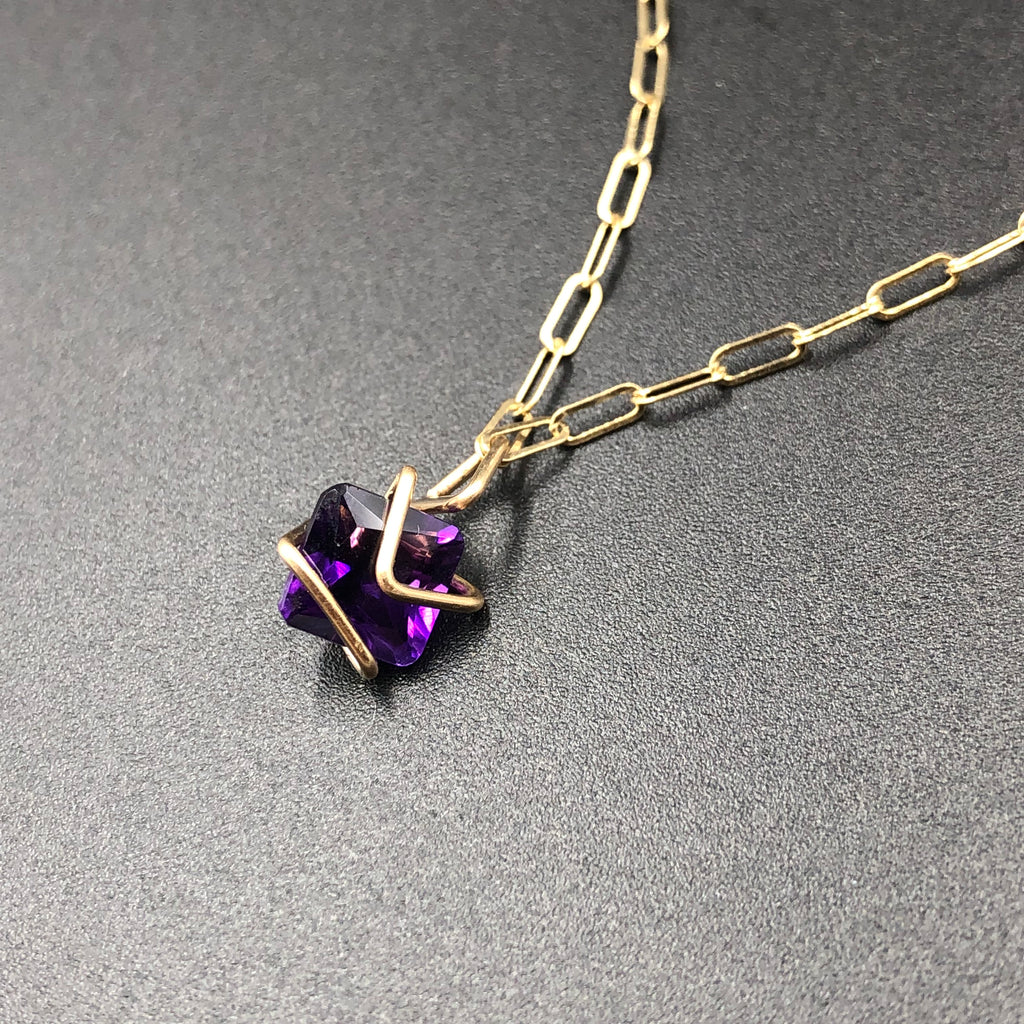 Amethyst Geo Gem Necklace