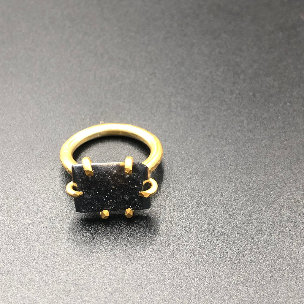 Raw Druzy Onyx Mineral gold statement cocktail Ring