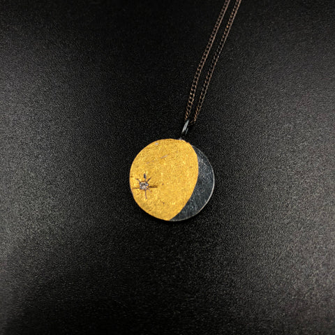 Two Sided Lunar Coin Pendant with Diamonds