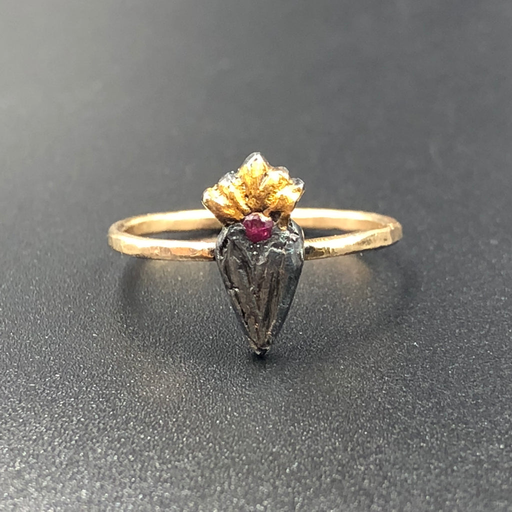 Dark Heart Ring with Ruby - Size 7