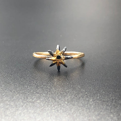 Asterisk Ring with Black Diamond