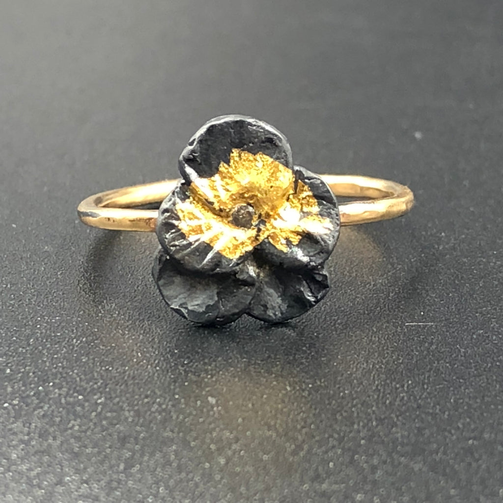 Pansy Ring with Diamond - Size 7