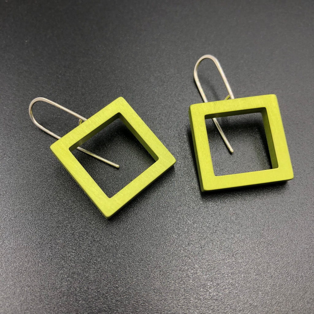Square Earrings - Lime