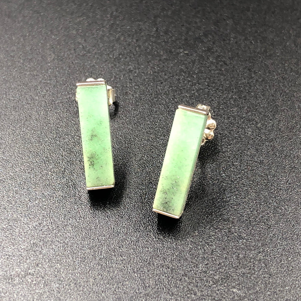 Chrysoprase Rectangle Studs