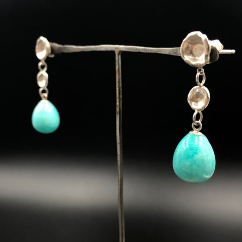 Peruvian Amazonite Water Cast Drop Earrings