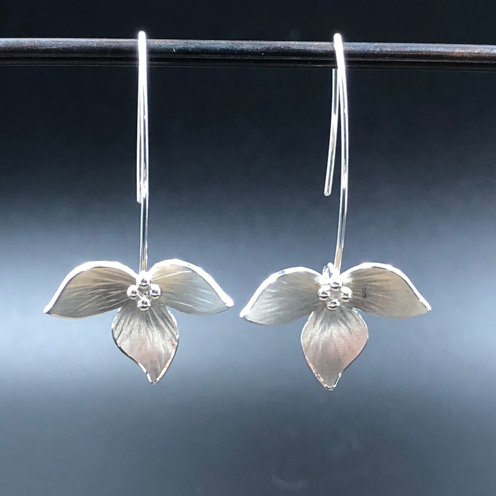 Silver Lotus Earrings by Aileen Lampman