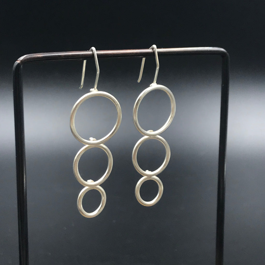 dynamic hinged sterling silver dangle earrings, alternative hoop earrings