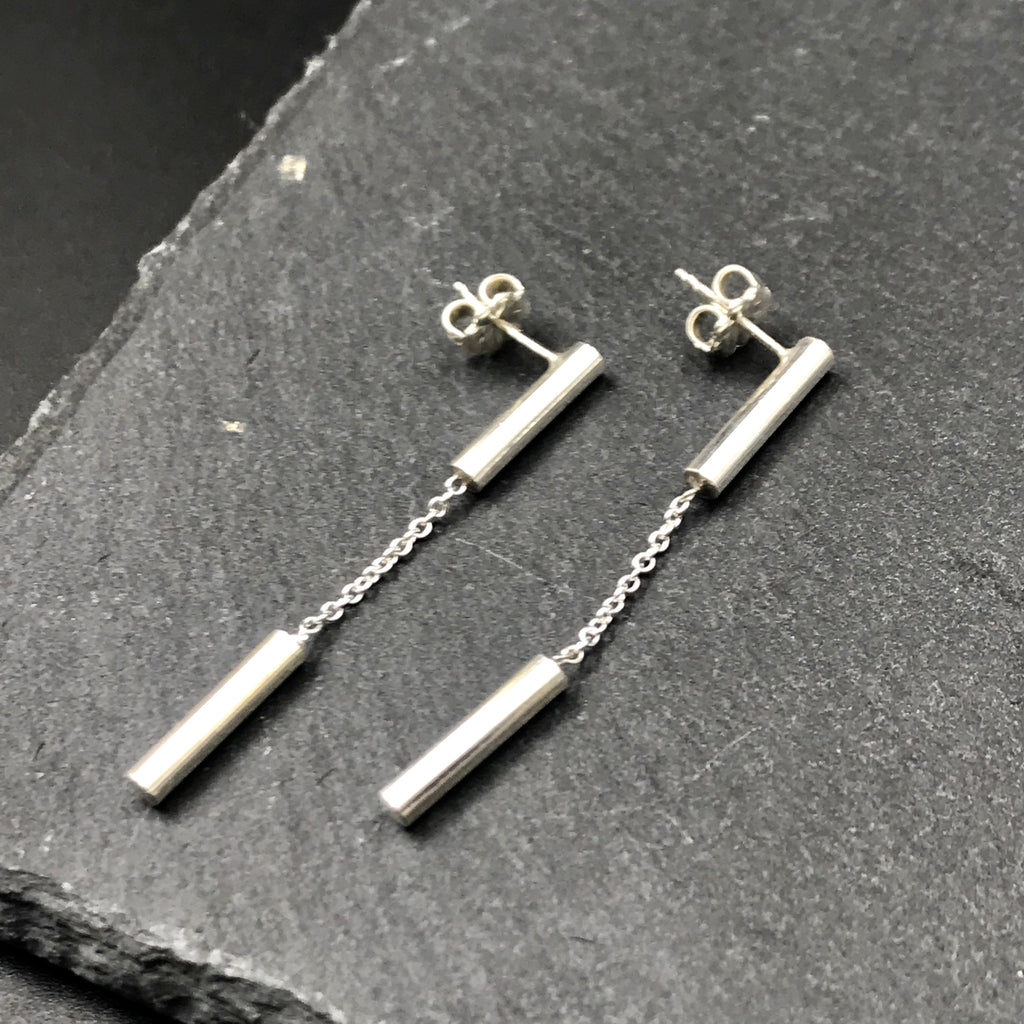 minimalist sterling silver dangle stud earrings