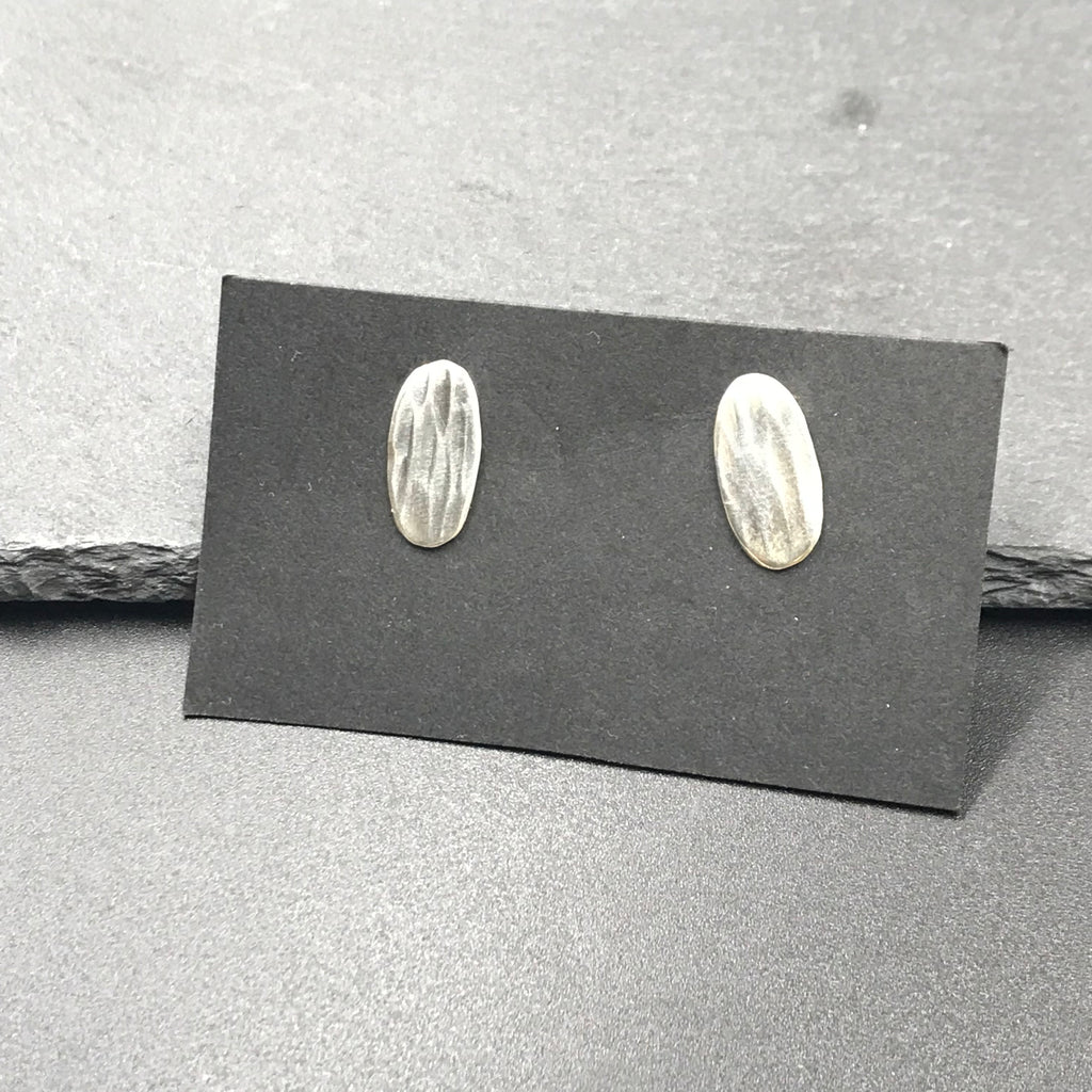 Hammered Oval Stud Earrings