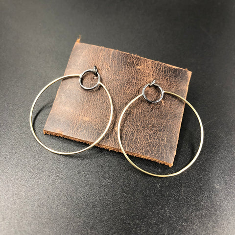 Gold Circle and Square Studs