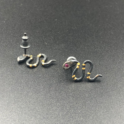 Serpent Ear Climber Stud Earrings with Ruby