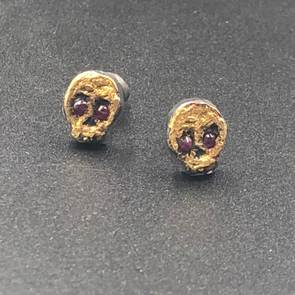 Tiny Skull Stud Earrings with Ruby