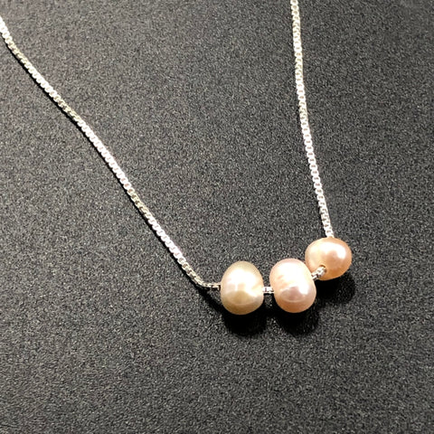 Trio Pink Pearl Necklace
