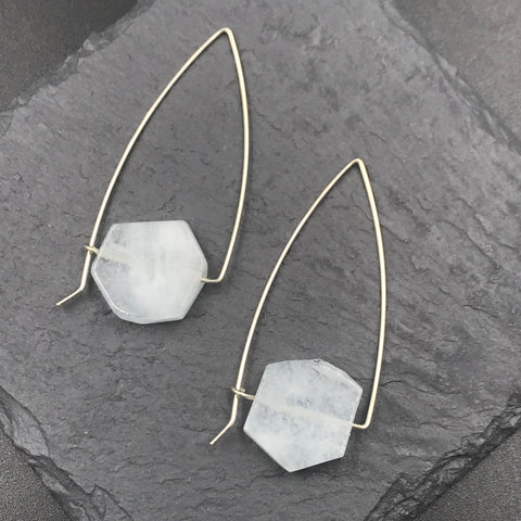 Triangle Aquamarine Hoops