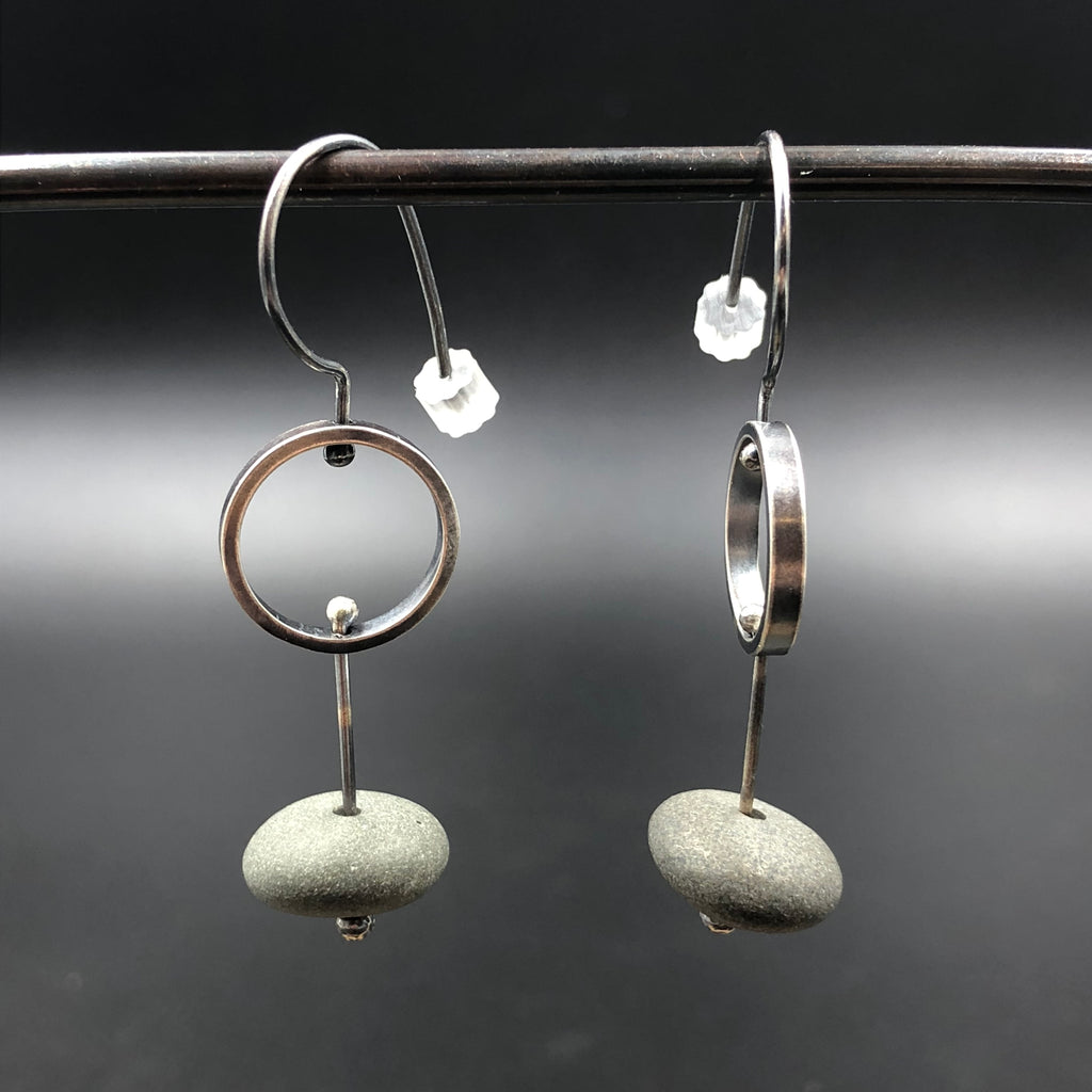Circle Drop Rock Earrings