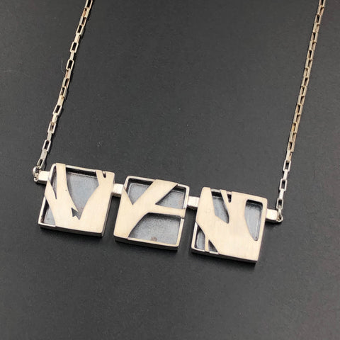 Three Abstract Shadow Box Necklace