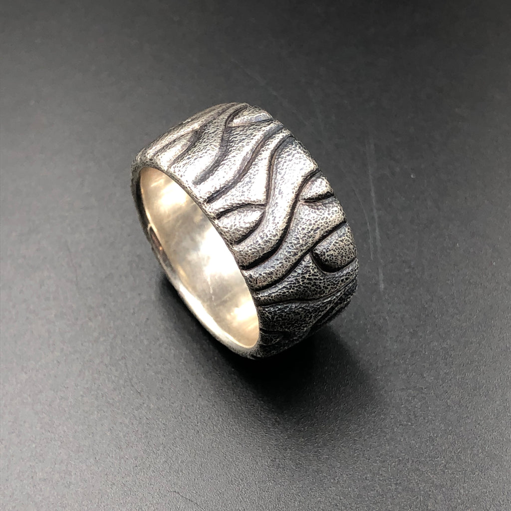 Bad Hombre hand carved sterling silver textured mens rings