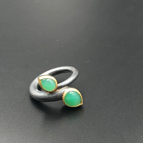 Chrysoprase Bypass Ring
