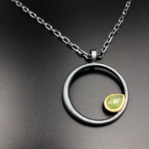 Vesuvianite Circle Pendant