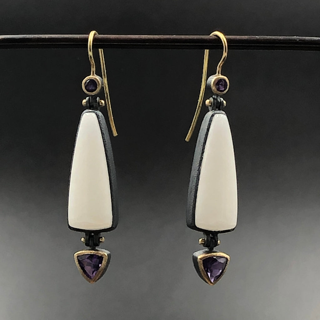 Marble and Amethyst birthstone Earrings sterling silver and 22 karat yellow gold