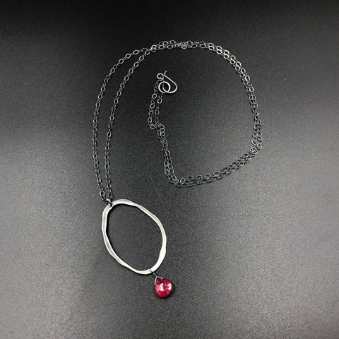 Rough Cut Circle Necklace with Ruby