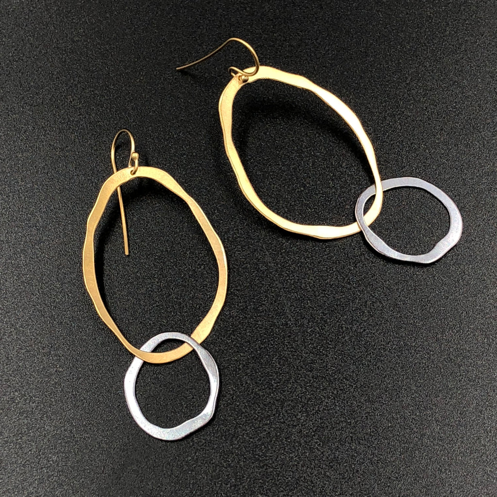Rough Cut Circle Earrings