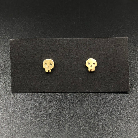 Skull Stud Earrings in Gold