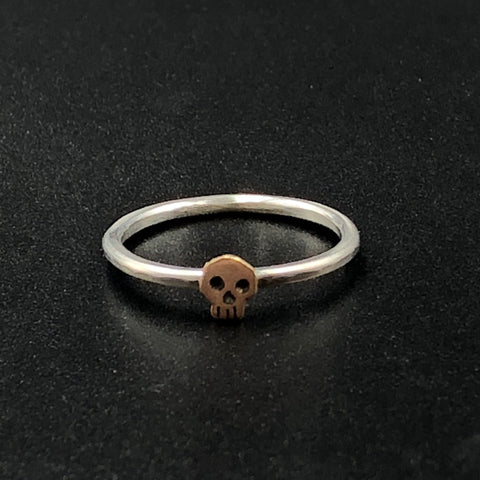 Skull Ring in Rose Gold and Sterling Silver