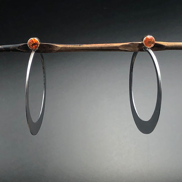 Brilliant Eclipse Hoops - Oxidized Silver