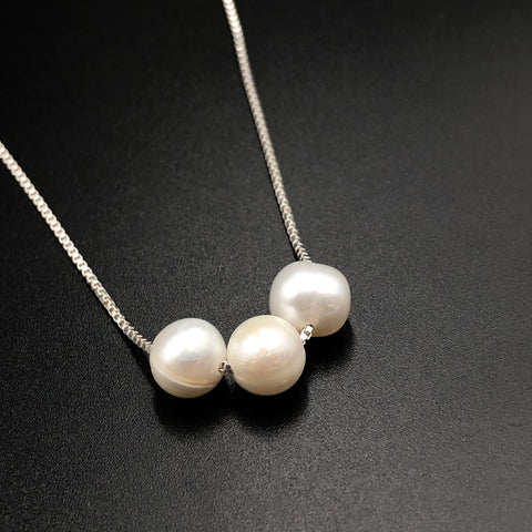 Trio White Pearl Necklace