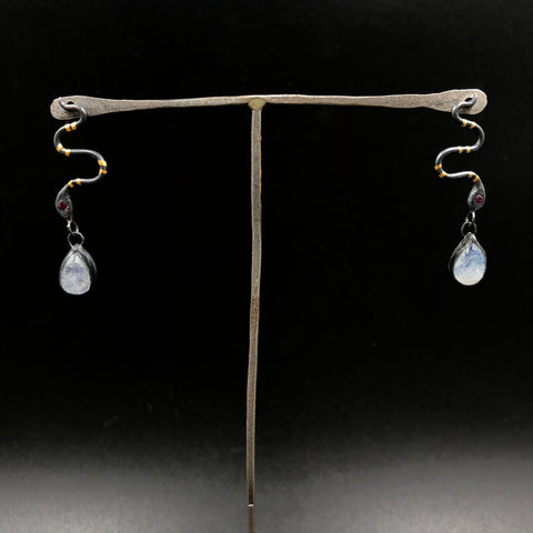Serpent Stud Earrings with Moonstone Drops