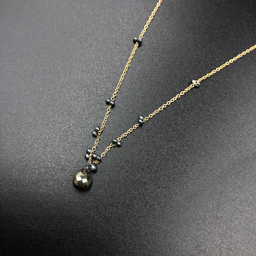 Solitaire Necklace with Pyrite - GFOX