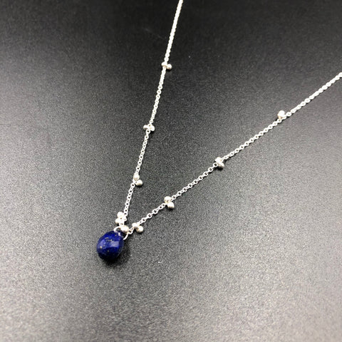 Solitaire Necklace with Lapis - SS