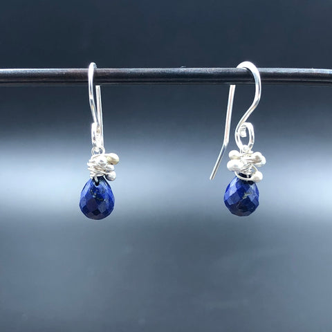 Roe Drop Earrings with Lapis