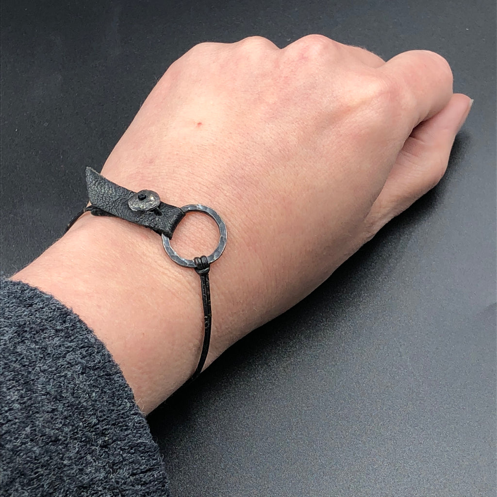 Silver Ring and Leather Bracelet with Diamond