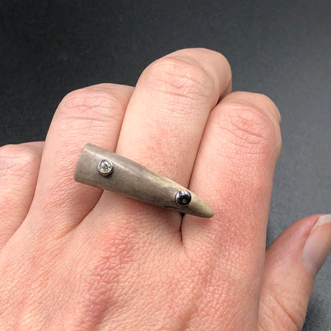Antler Tip Ring in Sterling Silver with Diamond