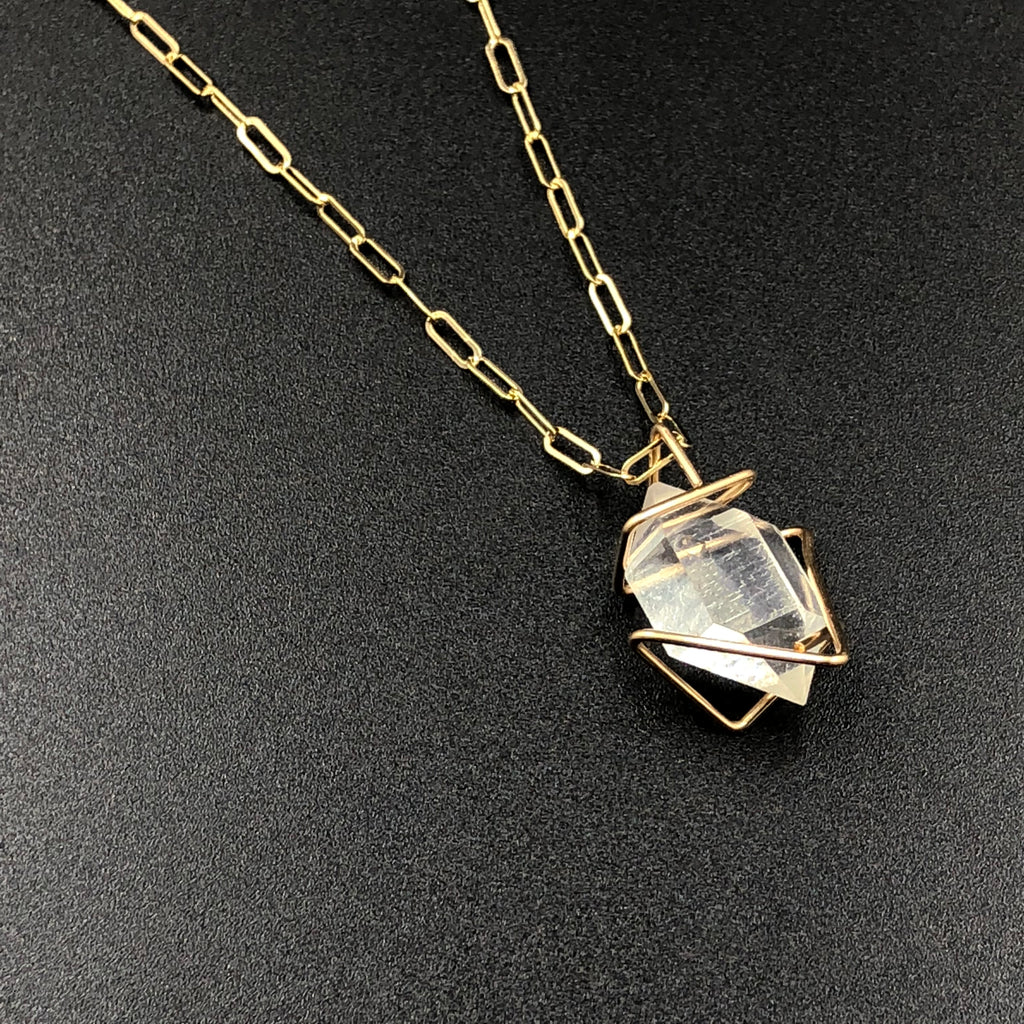 Herkimer in Gold Necklace