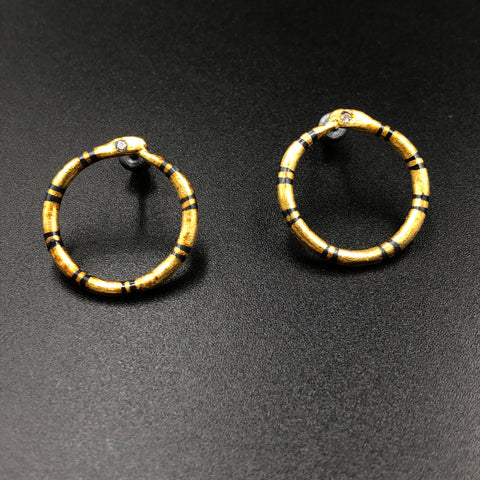 Golden Ouroboros Earrings