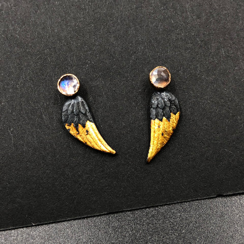 Wing Studs with Moonstone