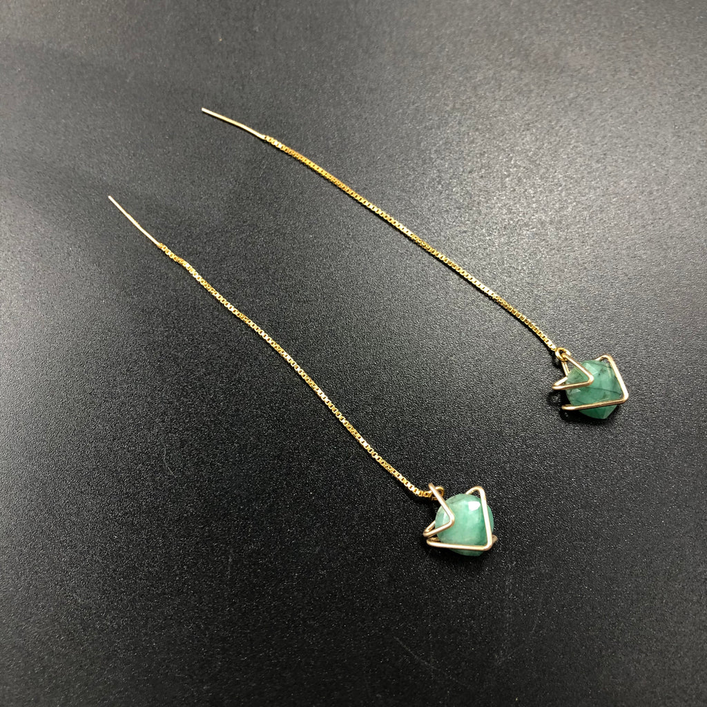 Emerald Threader Earrings