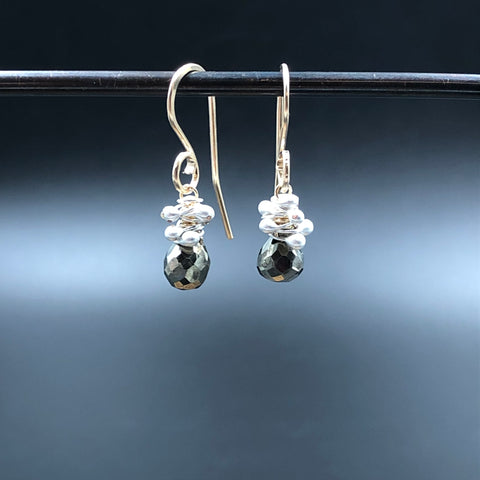 Roe Drop Earrings with Pyrite