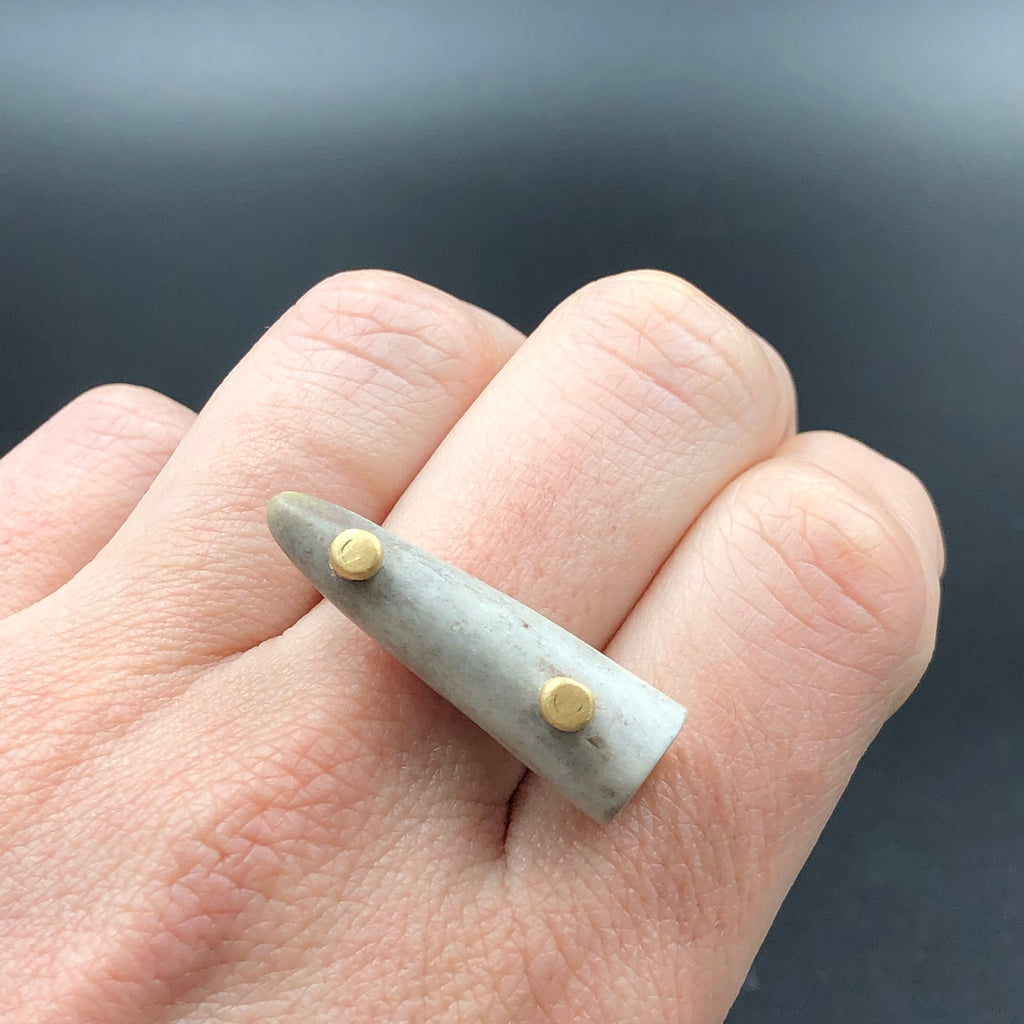 Antler Tip Ring in Brass