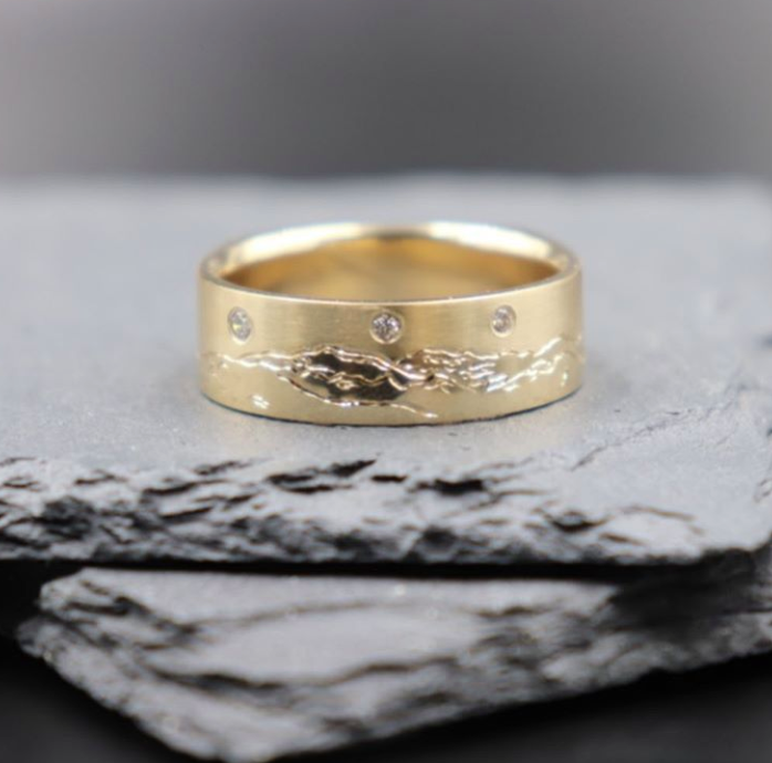 Engraved Mountain Gold Band