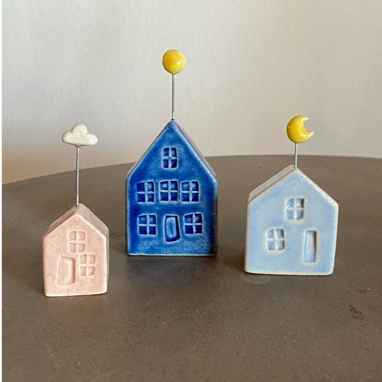 Handmade Tiny Pottery House with Sun Ring stand ring holder
