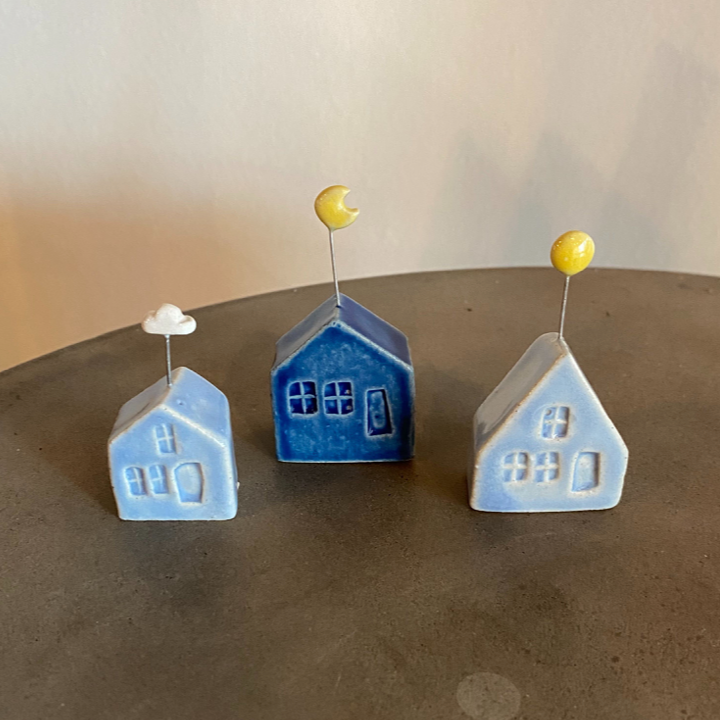 Handmade Tiny Pottery House with Moon ring stand or holder