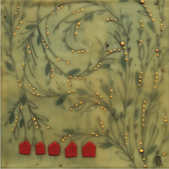 Vine Print With Five Red Houses Encaustic painting