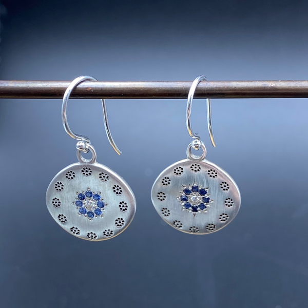 Large Cluster Earrings- Sapphire Circle